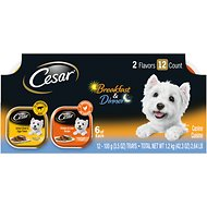 Cesar Classic Loaf in Sauce Breakfast & Dinner Mealtime Variety Pack Dog Food Trays, 3.5-oz, case of 12