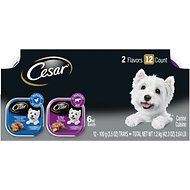Cesar Loaf in Sauce Rotisserie Chicken & Filet Mignon Flavors Variety Pack Dog Food Trays, 3.5-oz, case of 12