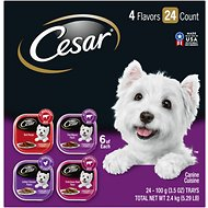 Cesar Classic Loaf in Sauce Beef Recipe, Filet Mignon, Grilled Chicken, & Porterhouse Steak Flavors Variety Pack Dog Food Trays, 3.5-oz, case of 24