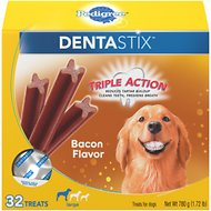 Pedigree Dentastix Large Bacon Flavor Dog Treats, 32 count