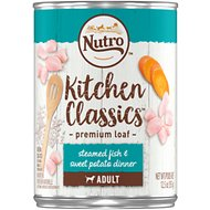 Nutro Adult Kitchen Classics Steamed Fish & Sweet Potato Dinner Canned Dog Food, 12.5-oz, case of 12