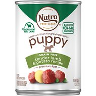Nutro Puppy Premium Loaf Tender Lamb & Potato Recipe Grain-Free Canned Dog Food, 12.5-oz, case of 12