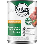 Nutro Premium Loaf Savory Lamb, Carrot & Pea Recipe Grain-Free Canned Dog Food, 12.5-oz, case of 12
