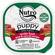 Nutro Puppy Tender Beef, Pea & Carrot Recipe Bites In Gravy Grain-Free Dog Food Trays, 3.5-oz, case of 24