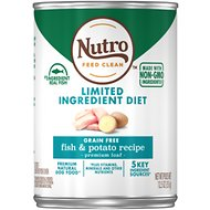 Nutro Limited Ingredient Diet Grain-Free Adult Fish & Potato Recipe Canned Dog Food, 12.5-oz, case of 12
