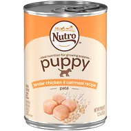 Nutro Puppy Tender Chicken & Oatmeal Recipe Pate Canned Dog Food, 12.5-oz, case of 12