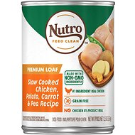 Nutro Grain-Free Premium Loaf Slow Cooked Chicken, Potato, Carrot & Pea Recipe Grain-Free Canned Dog Food, 12.5-oz, case of 12