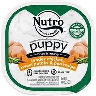 Nutro Puppy Tender Grain-Free Chicken, Sweet Potato & Pea Recipe Bites in Gravy Dog Food Trays, 3.5-oz, case of 24