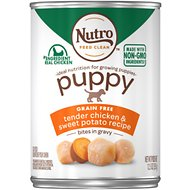 Nutro Large Breed Puppy Tender Chicken & Turkey Recipe Bites In Gravy Canned Dog Food, 12.5-oz, case of 12
