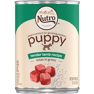 Nutro Large Breed Puppy Tender Lamb Recipe Bites In Gravy Canned Dog Food, 12.5-oz, case of 12