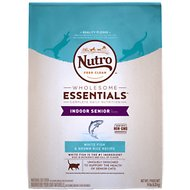 Nutro Wholesome Essentials Indoor Senior White Fish & Brown Rice Recipe Dry Cat Food, 14-lb bag