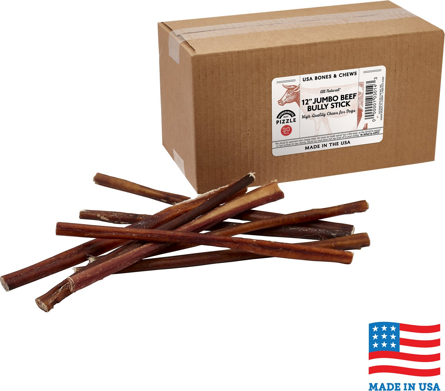 usa bones chews bully stick 12 dog chew treats case of 35. Black Bedroom Furniture Sets. Home Design Ideas