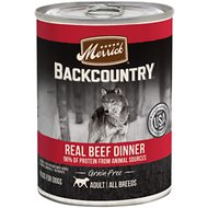 Merrick Backcountry Grain-Free 96% Real Beef Recipe Canned Dog Food, 12.7-oz, case of 12