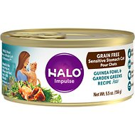 Halo Impulse Guinea Fowl & Garden Greens Recipe Grain-Free Sensitive Stomach Canned Cat Food, 5.5-oz, case of 12
