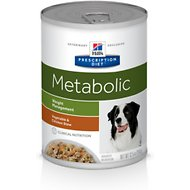 Hill's Prescription Diet Metabolic Weight Management Vegetable & Chicken Stew Canned Dog Food, 12.5-oz, case of 12