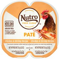 Nutro Perfect Portions Grain-Free Chicken & Shrimp Paté Recipe Cat Food Trays, 2.6-oz, case of 24 twin-packs
