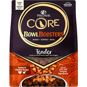 Wellness CORE Bowl Boosters Tender Turkey & Chicken Recipe Meal or Mixer Air Dried Grain-Free Dog Food, 2-lb bag; Wellness CORE Bowl Boosters Tender Turkey & Chicken Recipe Meal or Mixer Air Dried Grain-Free Dog Food is a healthy, grain free dog food for adult dogs featuring tender protein morsels made with 70% natural, raw protein. This formula is fortified with vitamins and minerals for whole body health and then air dried for the taste of raw and the ease and convenience of kibble, no refrigeration required! Wellness CORE grain free dog food formulas are based on the nutritional philosophy that dogs thrive on a diet mainly comprised of meat. Each grain free, nutrient-rich formula provides high quality protein for your dog.