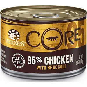 Wellness CORE 95% Grain-Free Chicken & Broccoli Canned Dog Food, 6-oz, case of 24; Mealtime is the perfect time to nourish your pup so he can thrive from the core, so give him the deliciousness and nutrition of the Wellness CORE 95% Grain-Free Chicken & Broccoli Canned Dog Food. This 100% grain-free, protein-packed formula is made with a single, pure protein source and an antioxidant-rich superfood to provide your dog with the nutrition he needs, with no wheat, corn, soy, meat by-products, artificial colors, flavors or preservatives. While your pup licks his furry lips, you can feel good about giving him the complete nutrition of real chicken to help maintain lean body mass and muscle tone, antioxidant-rich broccoli for overall wellbeing, plus essential vitamins, minerals, and fiber. Plus, it contains flaxseed that's high in omega-3 fatty acids to help support a healthy skin and coat. Thanks to its ready-to-use formula and easy-open lid, it's easy and quick to give as a complete meal or a delicious, nutritious food topper.