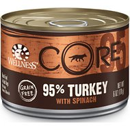 Wellness CORE Grain-Free 95% Turkey with Spinach Canned Dog Food, 6-oz, case of 24