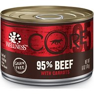 Wellness CORE Grain-Free 95% Beef with Carrots Recipe Canned Dog Food, 6-oz, case of 24