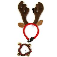 Outward Hound Holiday Antler Headband & Bell Pet Collar, Medium