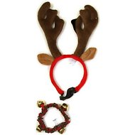 Outward Hound Holiday Antler Headband & Bell Pet Collar, Large