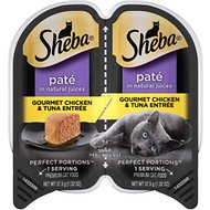 Sheba Perfect Portions Grain-Free Gourmet Chicken & Tuna Entree Cat Food Trays, 2.6-oz, case of 24 twin-packs