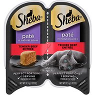 Sheba Perfect Portions Grain-Free Tender Beef Entree Cat Food Trays, 2.6-oz, case of 24 twin-packs