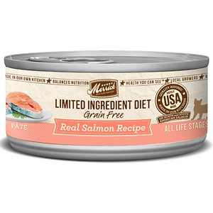Merrick Limited Ingredient Diet Grain-Free Real Salmon Pate Recipe Canned Cat Food, 5-oz, case of 24; Give your sensitive kitty the simple nutrition he needs with the Merrick Limited Ingredient Diet Grain-Free Real Salmon Pate Recipe Canned Cat Food. It's packed with high-protein, tender salmon as the first ingredient and only animal protein source, and prepared into a whisker-licking pate even picky eaters love. Loaded with antioxidants to support immunity, omegas for a healthy skin and coat, plus vitamins, minerals and taurine in every bite, it's sure to fuel all your kitty's adventures, and then yum! Plus, it has zero grains, artificial colors, flavors or preservatives so you can let kitty dive right into his bowl every time.