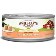 Whole Earth Farms Grain-Free Real Salmon Pate Recipe Canned Cat Food, 2.75-oz, case of 24