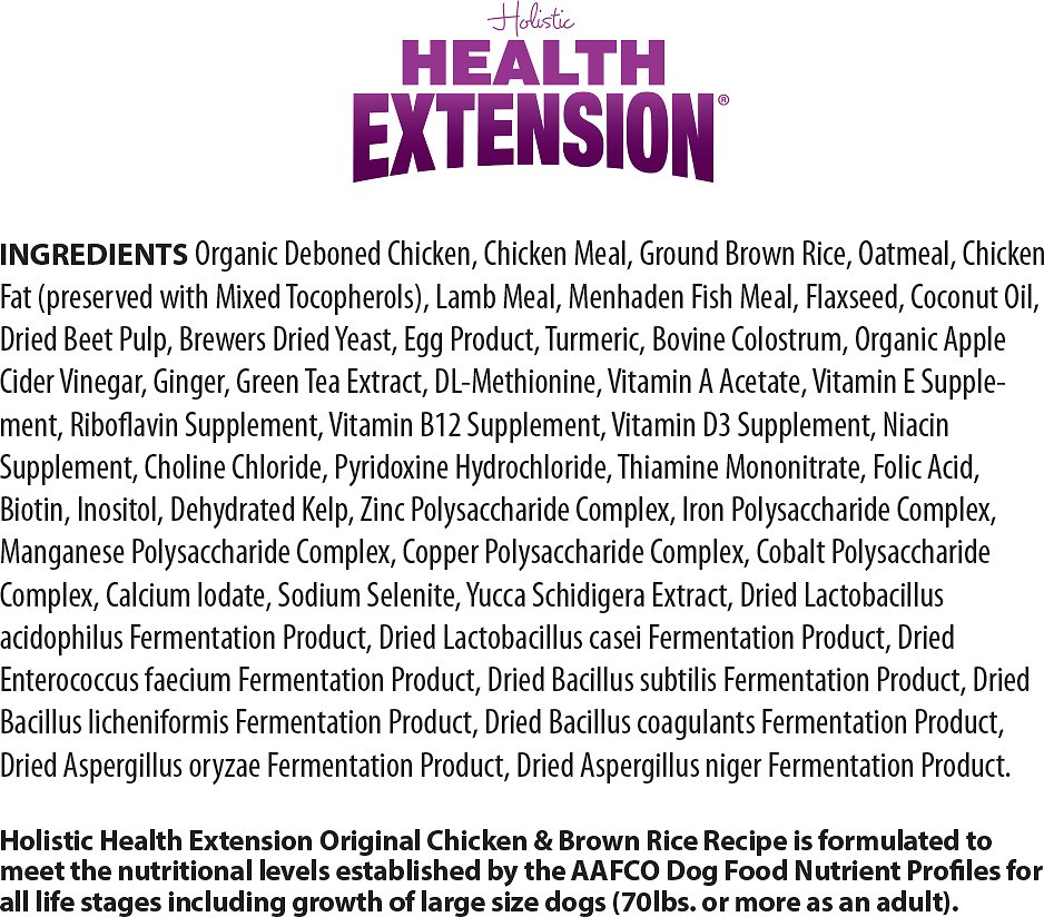 Health Extension Original Chicken Brown Rice Recipe Dry Dog Food