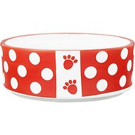 PetRageous Designs Puppy Dots Paw Dog Bowl, Red, 1.5 cup