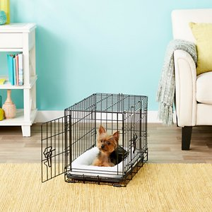 Frisco Fold & Carry Double Door Collapsible Wire Dog Crate, 22 inch; **Remember to measure your pet for the paw-fect fit.** Frisco Fold & Carry Double Door Dog Crate is constructed to be strong and durable while providing your pet with safety, security and comfort. Two large doors, one on the front and one on the side, are easy to open, close and securely lock with dual latches on larger models. An included plastic base pan sits on the bottom of the crate for easy cleanup and for your dog's comfort. A divider panel is included as well, allowing your crate to grow as your pup grows. Assembly is simple, with no tools needed. It even conveniently folds and carries with adjustable handles, making travel and transport a breeze. And with a protective, black electro-coat finish, it\\\'s made to last.