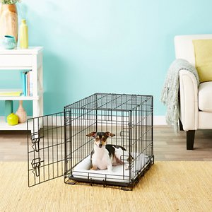 Frisco Fold & Carry Single Door Collapsible Wire Dog Crate, 24 inch; **Remember to measure your pet for the paw-fect fit.** Frisco Fold & Carry Single Door Dog Crate is constructed to be strong and durable while providing your pet with safety, security and comfort. The large single door is easy to open, close and securely lock with dual latches on larger models. An included plastic base pan sits on the bottom of the crate for easy cleanup and for your dog's comfort. A divider panel is included as well, allowing your crate to grow as your pup grows. Assembly is simple, with no tools needed. It even conveniently folds and carries with adjustable handles, making travel and transport a breeze. And with a protective, black electro-coat finish, it\\\'s made to last.