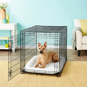 Frisco Fold & Carry Single Door Collapsible Wire Dog Crate, 42 inch; **Remember to measure your pet for the paw-fect fit.** Frisco Fold & Carry Single Door Dog Crate is constructed to be strong and durable while providing your pet with safety, security and comfort. The large single door is easy to open, close and securely lock with dual latches on larger models. An included plastic base pan sits on the bottom of the crate for easy cleanup and for your dog's comfort. A divider panel is included as well, allowing your crate to grow as your pup grows. Assembly is simple, with no tools needed. It even conveniently folds and carries with adjustable handles, making travel and transport a breeze. And with a protective, black electro-coat finish, it\\\'s made to last.