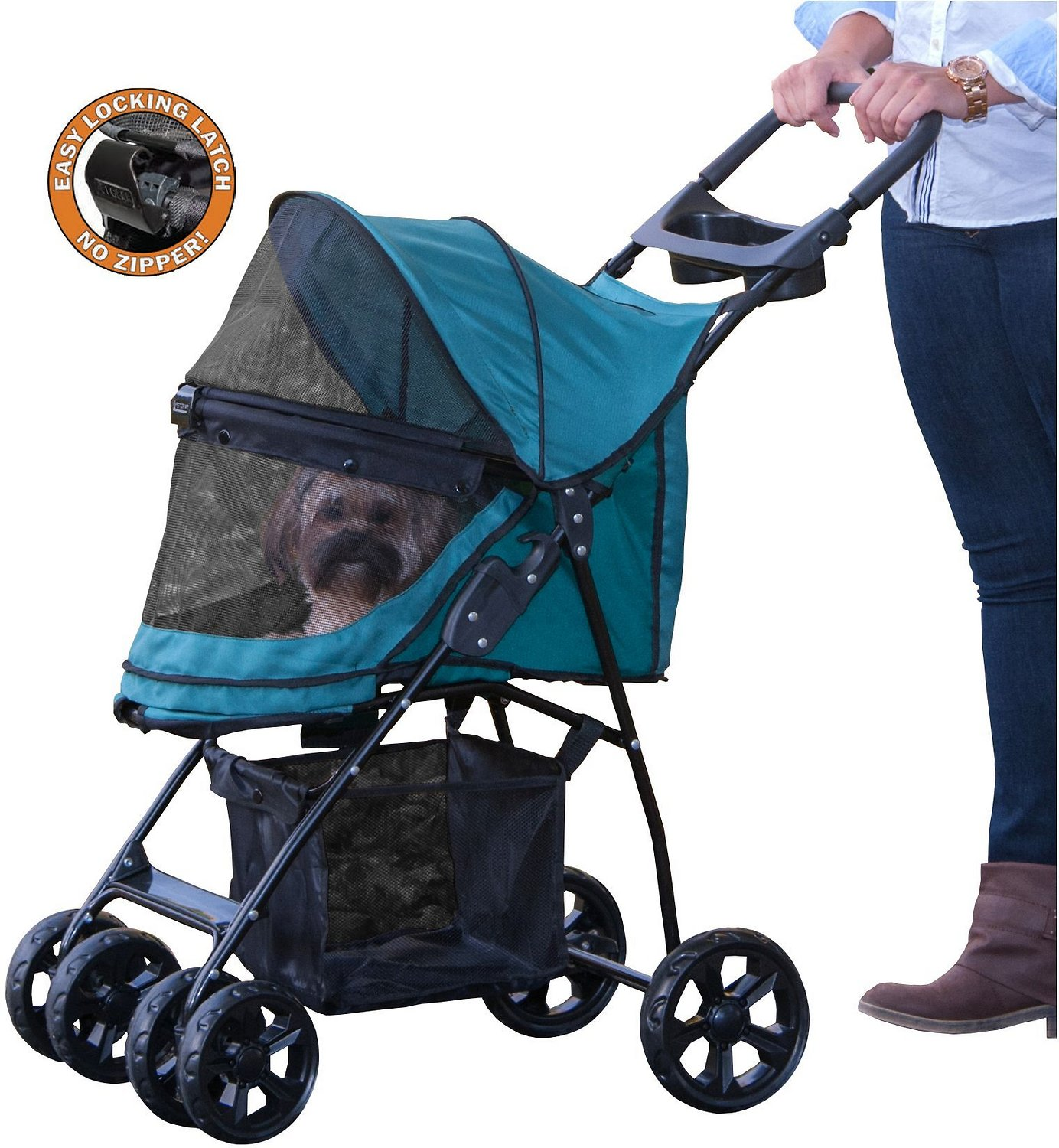 Pet Gear Happy Trails Lite No-Zip Pet Stroller, Pine Green ...