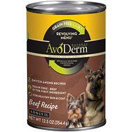 AvoDerm Natural Grain-Free Revolving Menu Beef Recipe Adult & Puppy Canned Dog Food, 12.5-oz, case of 12