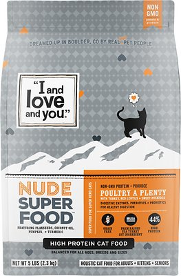 5. I and Love and You Nude Food Poultry a Plenty Grain-Free Dry Cat Food