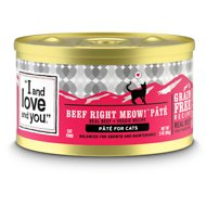 I and Love and You Beef Right Meow Pate Grain-Free Canned Cat Food, 3-oz, case of 24