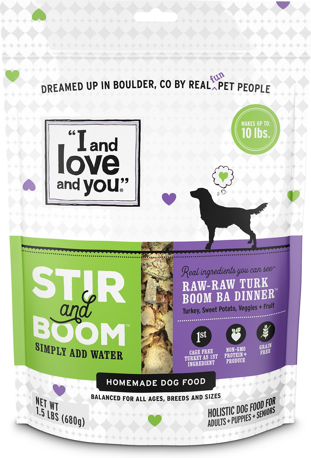 I And Love And You Stir Boom Raw Raw Turk Boom Ba Dinner Grain Free Dehydrated Dog Food 1 5 Lb Bag