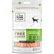 I and Love and You No Stink! Free Ranger Beef Bully Stix Grain-Free Dog Chews, 6-in, 5 pack