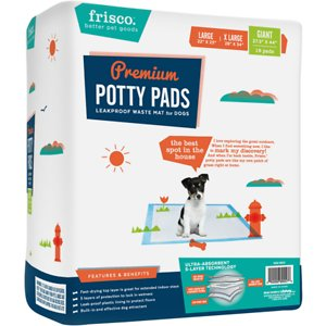 Frisco Giant Training & Potty Pads, 27.5-in x 44-in, 18 count, Unscented; Pups love exploring the great outdoors, and when they find something new, they like to mark their discovery. Frisco Premium Giant Training & Potty Pads are like a personal patch of grass right at home, just waiting to be discovered. That's why they're the best spot in the house. These potty pads have an effective built-in dog attractant that's ideal for training puppies, but also entices indoor pets so they know exactly where to go. With five layers of protection to lock in wetness, a leak-proof plastic lining and a fast-drying quilted top layer to prevent tracking, Frisco Premium Training & Potty Pads absorb the mess and ensure your floors and the surrounding areas stay dry.