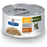 Hill's Prescription Diet c/d Multicare + Metabolic Vegetable & Chicken Stew Canned Cat Food, 2.9-oz, case of 24