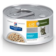 Hill's Prescription Diet c/d Multicare + Metabolic Tuna & Vegetable Stew Canned Cat Food, 2.9-oz, case of 24