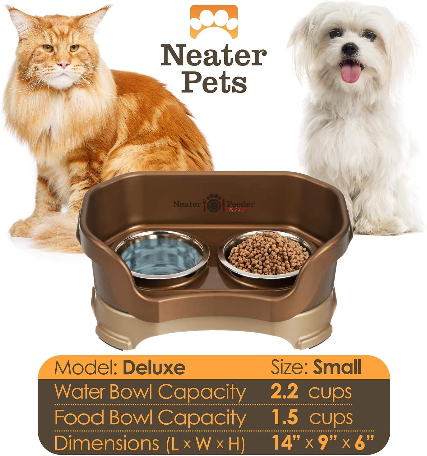 The Mess Proof Elevated Bowls No cranberry Lower Price with Neater Feeder Deluxe Small Dog