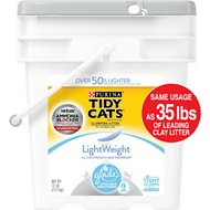 Tidy Cats LightWeight Glade Tough Odor Solutions Clear Springs Scent Clumping Cat Litter, 17-lb pail