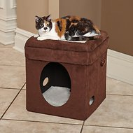 MidWest Curious Cube Cat Bed, Brown Suede
