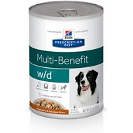 Hill's Prescription Diet w/d Multi-Benefit Digestive, Weight, Glucose, Urinary Management Vegetable & Chicken Stew Canned Dog Food, 12.5, case of 12