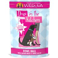 Weruva Dogs in the Kitchen Fowl Ball with Chicken Breast & Turkey Au Jus Grain-Free Dog Food Pouches , 2.8-oz, case of 12
