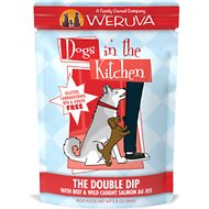 Weruva Dogs in the Kitchen The Double Dip with Beef & Wild Caught Salmon Au Jus Grain-Free Dog Food Pouches, 2.8-oz, case of 12